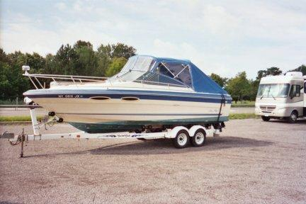 Bimini Top and Two Piece Windshield with Side Windows and Custom Aft Cover