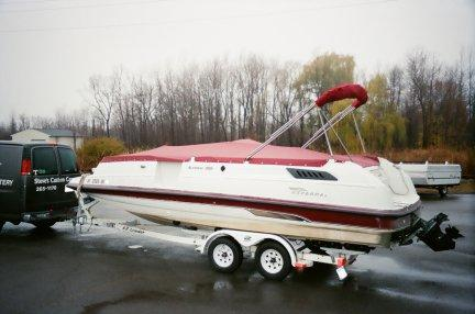 Red Deck Boat Tonneau Cover & Custom Bimini Top